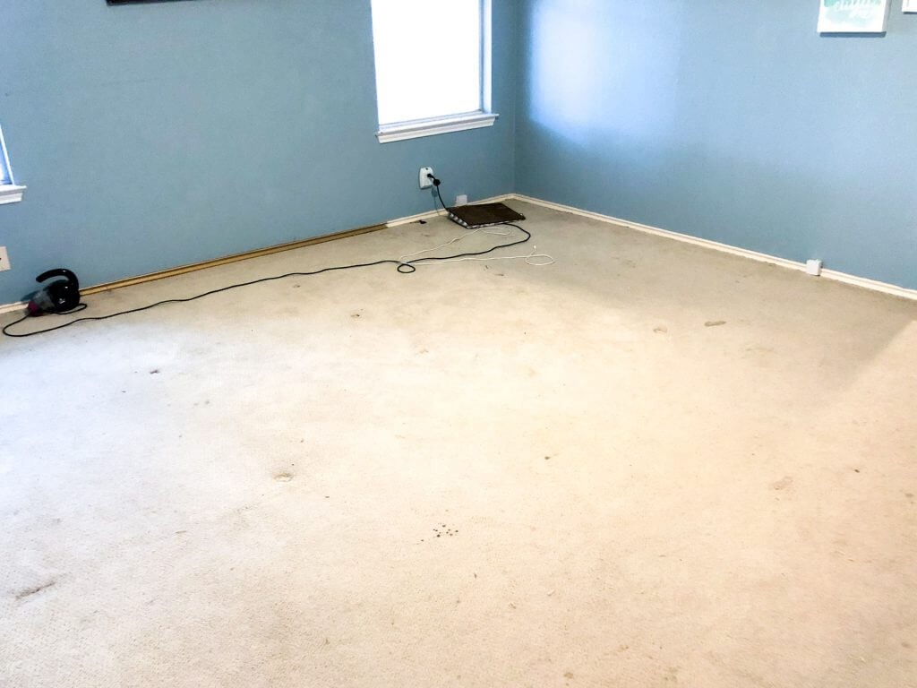 DIY | Gross Carpet | New Hardwoods | Carpet Removal | Flooring | Master Bedroom | Bedroom | Renovation | Concrete Slab